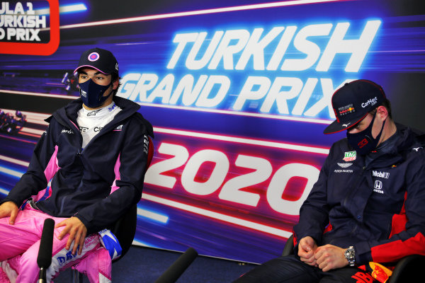 Pole man Lance Stroll, Racing Point, and Max Verstappen, Red Bull Racing, in the post Qualifying Press Conference