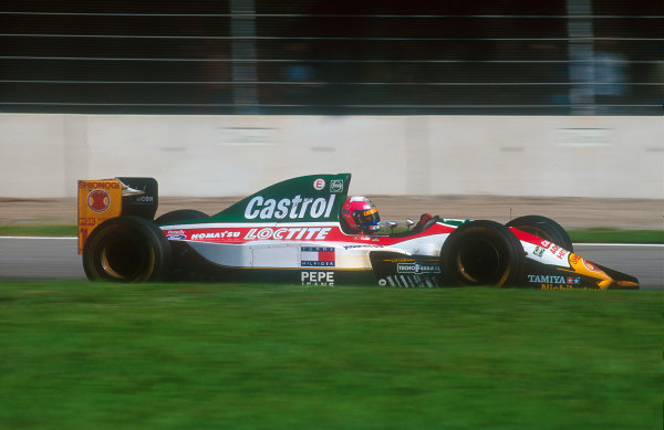 1993 Italian Grand Prix.Monza, Italy.10-12 September 1993.Pedro Lamy (Lotus 107B Ford) 11th position on his Grand Prix debut.Ref-93 ITA 06.World Copyright - LAT Photographic