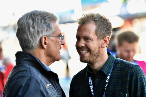 Sebastian Vettel (GER) and Dr. Mario Theissen (GER) at Audi Sport TT Cup, DTM Championship, Hockenheim, Germany, 14-15 October 2017.