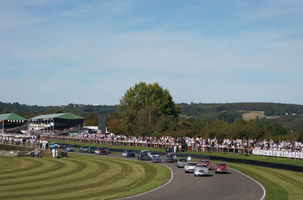 Karl Wendlinger, Studebaker Silver Hawk, Emanuele Pirro, Alfa Romeo Giulietta Ti, and Romain Dumas, Ford Thunderbird, lead the field at the re-start of the St. Mary's Trophy Part 1.