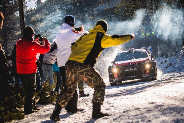 Stephane Lefebvre (FRA) / Gabin Moreau (FRA), Citroen Total Abu Dhabi World Rally Team Citroen C3 WRC and fans at FIA World Rally Championship, Rd1, Rally Monte Carlo, Day Two, Monte Carlo, Monaco, 21 January 2017.