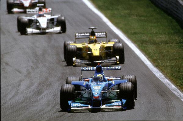 1999 Canadian Grand Prix.Montreal, Quebec, Canada.11-13 June 1999.Giancarlo Fisichella (Benetton B199 Playlife) leads Heinz-Harald Frentzen (Jordan 199 Mugen Honda).Ref-99 CAN 12.World Copyright - LAT Photographic