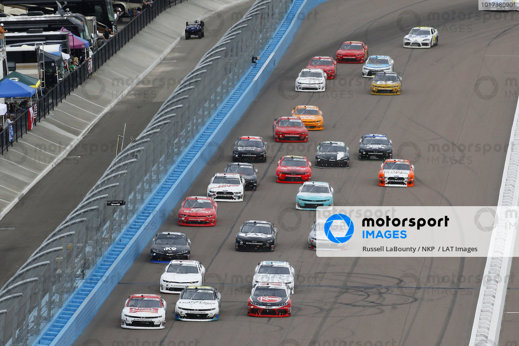 #1: Michael Annett, JR Motorsports, Chevrolet Camaro Chevrolet Pilot Flying J and #11: Justin Haley, Kaulig Racing, Chevrolet Camaro LeafFilter Gutter Protection