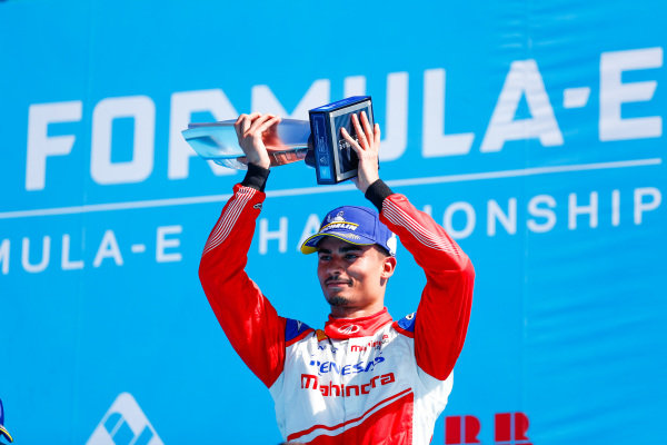Pascal Wehrlein (DEU), Mahindra Racing, celebrates 2nd position on the podium