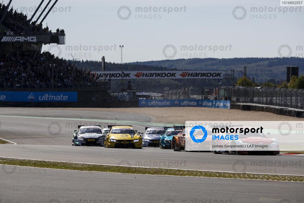 René Rast, Audi Sport Team Rosberg, Audi RS 5 DTM leads at the start of the race.