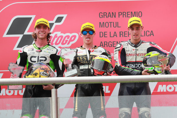 Podium: race winner Jaume Masia, Bester Capital Dubai, second place Darryn Binder, CIP Green Power, third place Tony Arbolino, Team O.