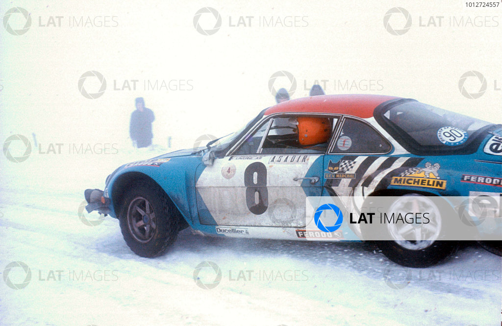 1975 FIA World Rally Championship. Monte Carlo Rally. 15th - 24th January 1975. Nicolas/Laverne, Renault Alpine A110, action.World Copyright: LAT Photographic