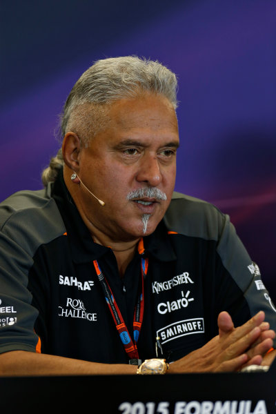 Circuit of the Americas, Austin, Texas, United States of America.  Friday 23 October 2015. Vijay Mallya, Team Principal and Managing Director, Force India, in the Team Principal Press Conference. World Copyright: Andrew Ferraro/LAT Photographic ref: Digital Image _FER6386
