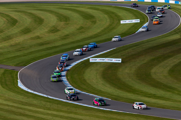 2015 Volkswagen Racing Cup, Donington Park, England. 12th - 13th September 2015. Aaron Mason (GBR) AWM Scirroco R. leads the field at the start of the race. World Copyright: Zak Mauger/LAT Photographic. ref: Digital Image _L0U9381