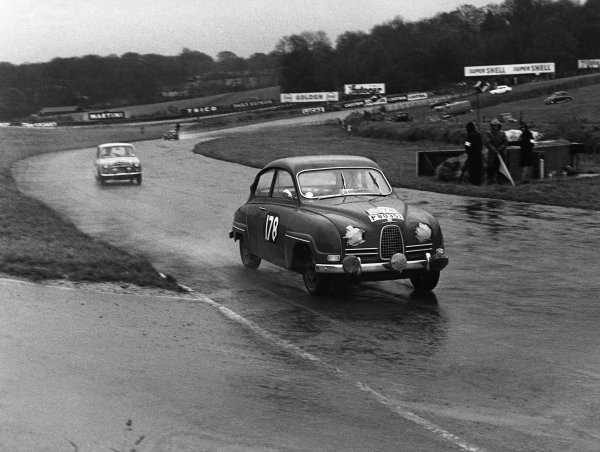1960 RAC Rally of Great Britain.  Brands Hatch, England. 21st - 26th November 1960. Erik Carlsson / Stuart Turner (Saab 96), 1st position, action. World Copyright: LAT Photographic.  Ref:  8905.
