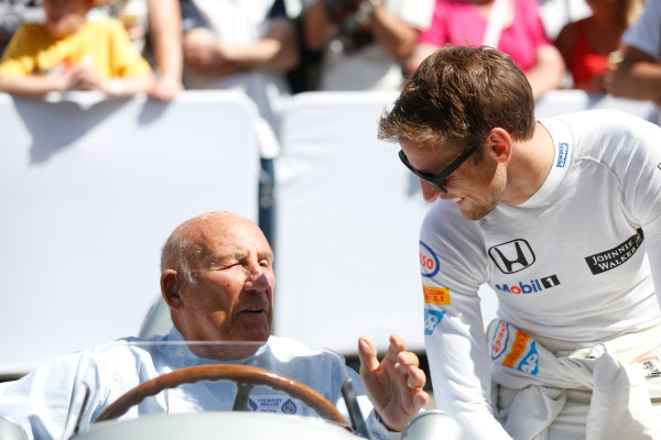 2015 Goodwood Festival of Speed Goodwood Estate, West Sussex, England. 25th - 28th June 2015. Jenson Button and Stirling Moss. World Copyright: Alastair Staley/LAT Photographic ref: Digital Image_R6T9205