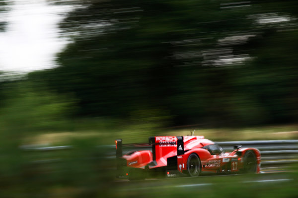 2015 Le Mans 24 Hours. Circuit de la Sarthe, Le Mans, France. Wednesday 10 June 2015. Porsche Team (Porsche 919 Hybrid - LMP1), Timo Bernhard, Mark Webber, Brendon Hartley.  Photo: Sam Bloxham/LAT Photographic. ref: Digital Image _G7C5211