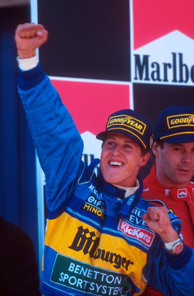 Barcelona, Spain.12-14 May 1995.Michael Schumacher (Benetton Renault) celebrates 1st position on the podium. Ref-95 ESP 04.World Copyright - LAT Photographic