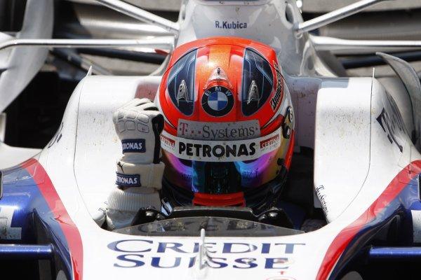 Circuit Gilles Villeneuve, Montreal, Canada8th June 2008.Robert Kubica, BMW Sauber F1 08, 1st position, celebrates his first F1 win as he returns to Parc Ferme. Portrait. Helmets. Finish.World Copyright: Glenn Dunbar/LAT Photographic.ref: Digital Image _O9T2692