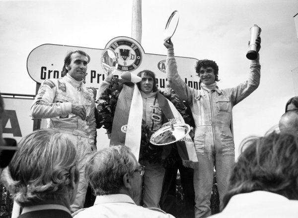 1971 German Grand Prix. Nurburgring, Germany. 29th July - 1st August 1971. Jackie Stewart (Tyrrell 003- Ford) 1st position, Francois Cevert (Tyrrell 002- Ford) 2nd position and Clay Regazzoni (Ferrari 312B2) 3rd position, podium. World Copyright - LAT Photographic. Ref: L71/1298#24