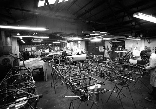 The Brabham factory with customer F3 and F2 cars under construction