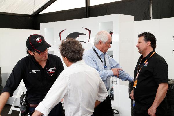 Miami e-Prix 2015. First Practice Session Alain Prost, Michael Andretti - Andretti President, Chairman and CEO.  FIA Formula E World Championship. Miami, Florida, USA. Saturday 14 March 2015.  Copyright: Adam Warner / LAT / FE ref: Digital Image _L5R3457