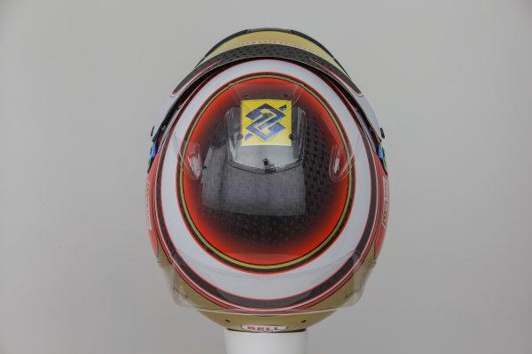 Hinwil, Switzerland. Thursday 29 January 2015. Helmet of Raffaele Marciello, Test and Reserve Driver, Sauber.  World Copyright: Sauber F1 Team (Copyright Free FOR EDITORIAL USE ONLY) ref: Digital Image 2015_SAUBER_HELMET_20