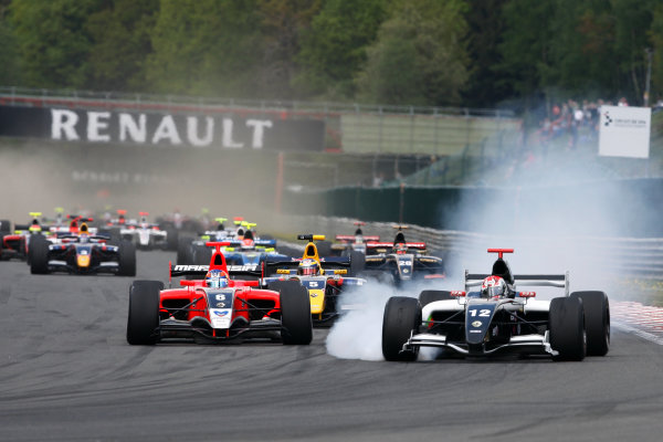 FRANCORCHAMPS, BELGIUM - 30 APRIL 2011: Albert Costa (ESP) (R), #12 EPIC, leads Robert Wickens (CAN) (L), #6 Carlin,  and Jean Eric Vergne (FRA) (C), #5 Carlin, during race 1 for round 2 of the Formula Renault 3 5 Series during the World Series by Renault weekend at Circuit de Spa-Francorchamps. action © 2011 Ronald Fleurbaaij / LAT Photographic