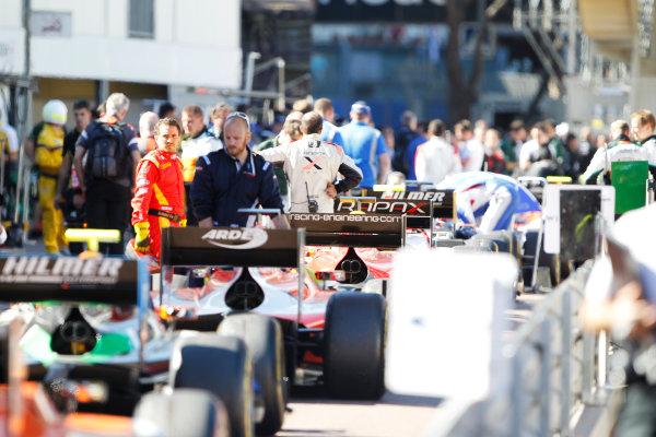 2014 GP2 Series Round 3 - Race 2 Monte Carlo, Monaco. Saturday 24 May 2014. The GP2 cars in the pit lane Photo: Sam Bloxham/GP2 Series Media Service. ref: Digital Image _G7C2920