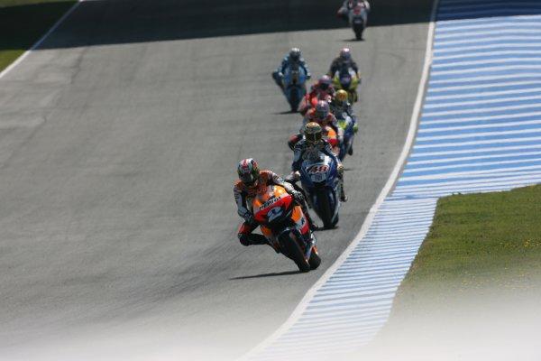 2008 Moto GP ChampionshipJerez, Spain. 28th - 30th March 2008.Dani Pedrosa Repsol Honda Team leads his home grand prix into turn 1.World Copyright: Martin Heath/LAT Photographicref: Digital Image Only