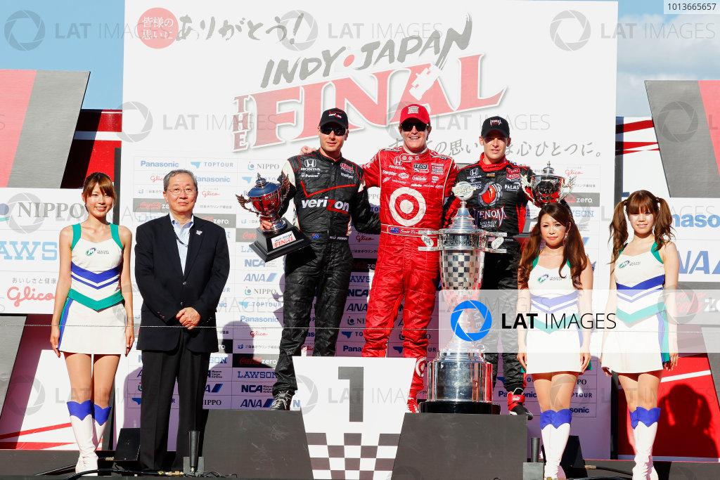 15-18 September, 2011, Twin Ring Motegi JapanScott Dixon, Will Power and Marco Andretti celebrate on the podium.(c)2011, Phillip AbbottLAT Photo USA