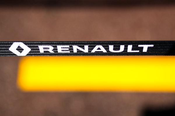 Monte Carlo, Monaco. Wednesday 24 May 2017. Renault logo in the pits. World Copyright: Sam Bloxham/LAT Images ref: Digital Image _W6I9861