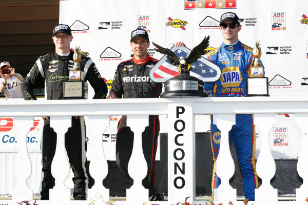 Verizon IndyCar Series ABC Supply 500 Pocono Raceway, Long Pond, PA USA Sunday 20 August 2017 Will Power, Team Penske Chevrolet, Josef Newgarden, Team Penske Chevrolet, Alexander Rossi, Curb Andretti Herta Autosport with Curb-Agajanian Honda celebrate on the podium World Copyright: Phillip Abbott LAT Images ref: Digital Image abbott_pocono_0817_8028