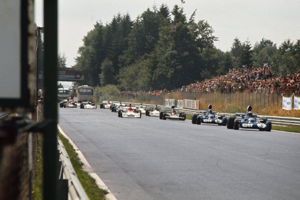 1973 German Grand Prix.  Nurburgring, Germany. 3-5th August 1973.  Jackie Stewart, Tyrrell 006 Ford, leads from Fran?ois Cevert, Tyrrell 006 Ford, and Ronnie Peterson, Lotus 72E Ford, out of the South Curve at the start.  Ref: 73GER23. World Copyright: LAT Photographic