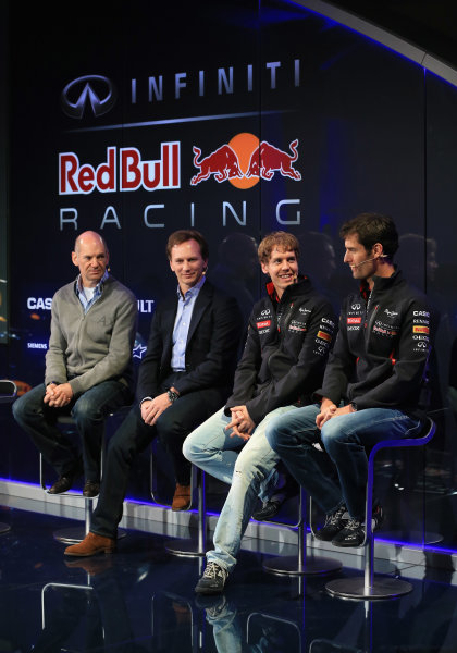 Milton Keynes, UK 3rd February 2013 .(L-R) Adrian Newey, Chief Technical Officer, Christian Horner, Team Principle, Sebastian Vettel of Germany and Mark Webber of Australia talk to the guests Photo: Richard Heathcote/Getty Images/Red Bull Racing () ref: Digital Image 160597712_10