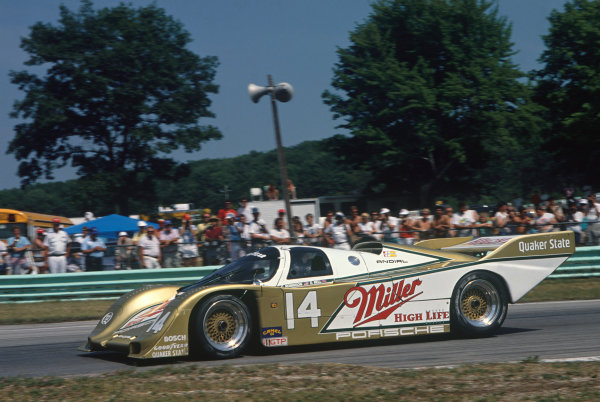 Road America 500 Kms, Elkhart Lake, Wisconsin, USA. 17th July 1988. Rd 9. Chip Robinson/Derek Bell (Porsche 962), 2nd position, action. World Copyright: LAT Photographic. Ref: 88IMSA RAM01