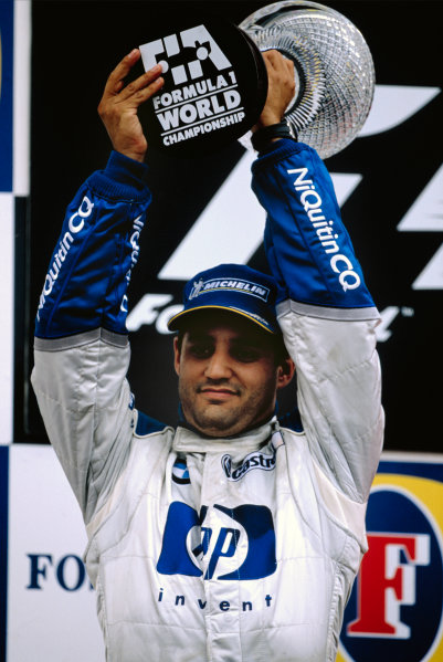 2003 British Grand PrixSilverstone, England. 18th - 20th July 2003.Juan-Pablo Montoya, BMW Williams FW25, 2nd position, podium.World Copyright: ref: 35mm Image 03GB19