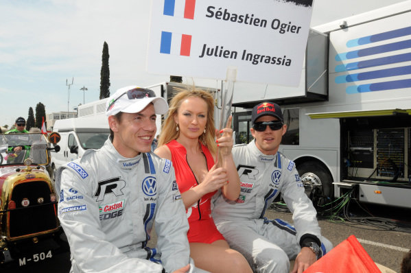 Sebastien Ogier (FRA) and Julien Ingrassia (FRA) at the drivers' parade  on stage 1. FIA World Rally Championship, Rd4, Rally Portugal, Faro, Portugal, Thursday 29 March 2012.