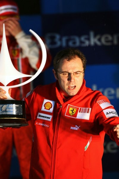 Stefano Domenicali (ITA) Ferrari Manager of F1 Operations on the podium. Formula One World Championship, Rd 18, Brazilian Grand Prix, Race, Interlagos, Sao Paulo, Brazil, Sunday 2 November 2008.