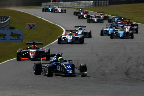 2016 BRDC F3 Championship, Snetterton, Norfolk. 6th - 7th August 2016. Start of Race 3 Ricky Collard (GBR) Carlin BRDC F3 leads. World Copyright: Ebrey / LAT Photographic.