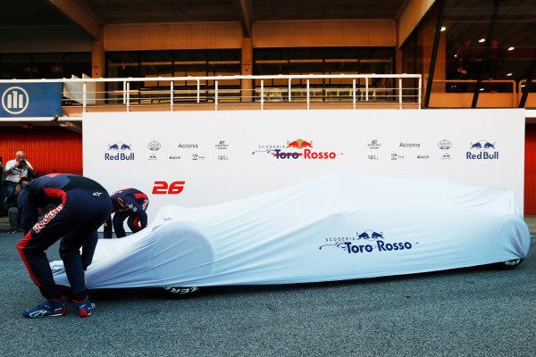 Toro Rosso STR12 Formula 1 Launch. Barcelona, Spain  Sunday 26 February 2017. Carlos Sainz Jr, Toro Rosso. and Daniil Kvyat, Toro Rosso.  World Copyright: Dunbar/LAT Images Ref: _31I9652