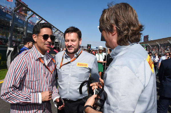 Shaikh Salman bin Isa Al Khalifa (BRN) Chief Executive of Bahrain International Circuit with Paul Hembery (GBR) Pirelli Motorsport Director on the grid at Formula One World Championship, Rd1, Australian Grand Prix, Race, Albert Park, Melbourne, Australia, Sunday 15 March 2015.
