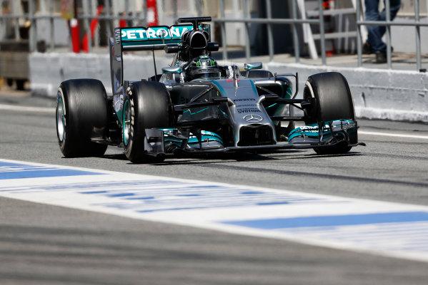 Circuit de Catalunya, Barcelona, Spain. Wednesday 14 May 2014. Nico Rosberg, Mercedes F1 W05 Hybrid. World Copyright: Sam Bloxham/LAT Photographic. ref: Digital Image _SBL0403