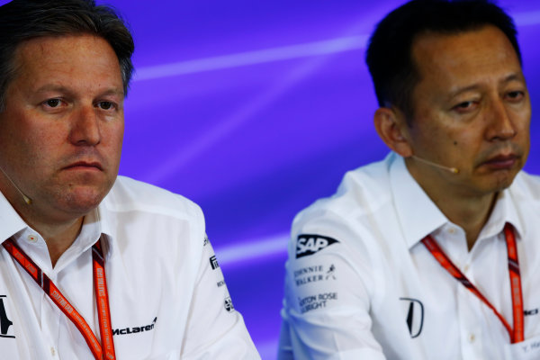 Spa Francorchamps, Belgium.  Friday 25 August 2017. Zak Brown, Executive Director, McLaren Technology Group, and Yusuke Hasegawa, Senior Managing Officer, Honda, in the Press Conference. World Copyright: Andy Hone/LAT Images  ref: Digital Image _ONZ9541