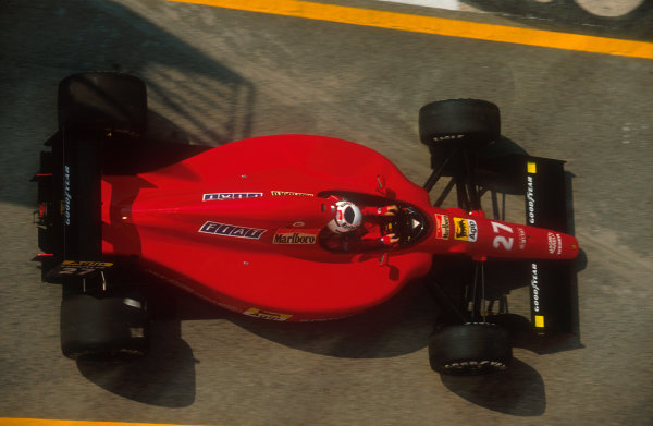 1991 San Marino Grand Prix.Imola, Italy.26-28 April 1991.Alain Prost (Ferrari 642). He exited the race before it even got started when he spun off on the parade lap.Ref-91 SM 03.World Copyright - LAT Photographic