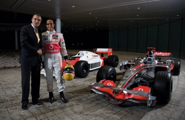 (L to R): Jean-Christophe Babin, CEO and President TAG Heuer and Lewis Hamilton (GBR) McLaren.