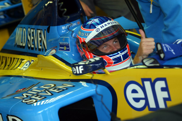 2002 Formula One TestingSilverstone, England. 17th September 2002.Jenson Button, Renault R202, gives the thumbs up.World Copyright: Malcolm Griffiths/LAT Photographicref: Digital Image Only