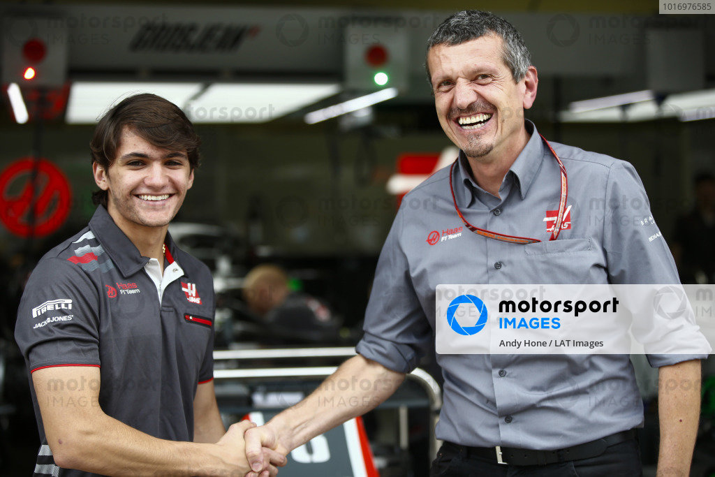Guenther Steiner, Team Principal, Haas F1, poses with test and development driver Pietro Fittipaldi.