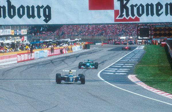 1994 San Marino Grand Prix.Imola, Italy.29/4-1/5 1994.Ayrton Senna (Williams FW16 Renault) leads Michael Schumacher (Benetton B194 Ford). Ref-94 SM 12.World Copyright - LAT Photographic