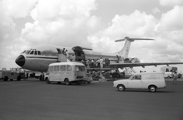 """Sandro Munari and """"Lofty"""" Drews Lancia Fulvia coupe is unloaded from an East African Airways Super VC10."""