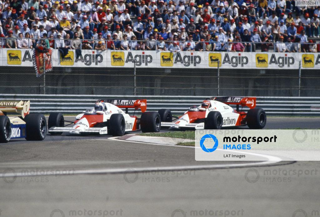 Alain Prost, McLaren MP4-2 TAG, leads Niki Lauda, McLaren MP4-2 TAG.