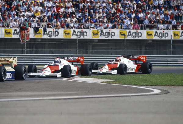 Alain Prost, McLaren MP4-2 TAG, leads Niki Lauda, McLaren MP4-2 TAG.