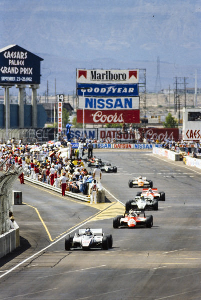 Derek Warwick, Toleman TG183 Hart, leads Andrea de Cesaris, Alfa Romeo 182, and Derek Daly, Williams FW08 Ford.