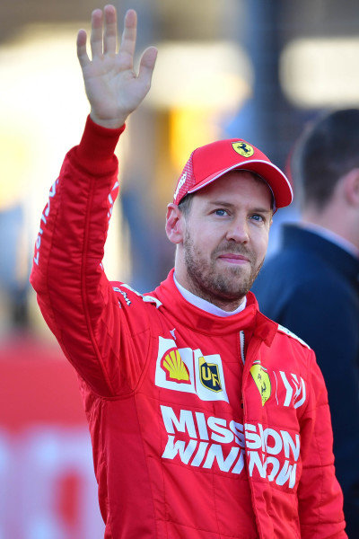 Sebastian Vettel, Ferrari, waves to fans after Qualifying
