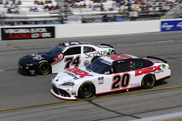 #20: Harrison Burton, Joe Gibbs Racing, Toyota Supra DEX Imaging, #74: C.J. McLaughlin, Mike Harmon Racing, Chevrolet Camaro SciAps